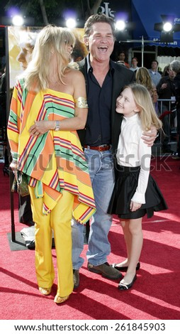 "October 9, 2005 - Goldie Hawn, Kurt Russell and Dakota Fanning at the ""Dreamer"" Los Angeles Premiere at the Mann Village Theatre Westwood, California United States."