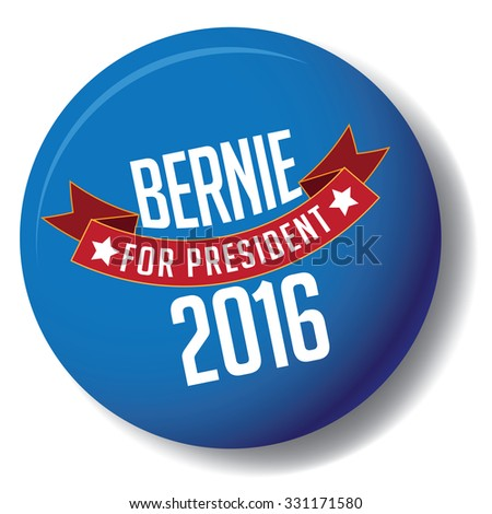 October 25, 2015: Illustration of button showing Democrat presidential candidate Bernie Sanders Donald Trump Hillary Clinton for President 2016. - stock photo