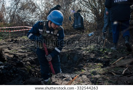 October 13, 2015. Kiev region, Ukraine. Demining World War II ammunition on peat fields around Kiev.