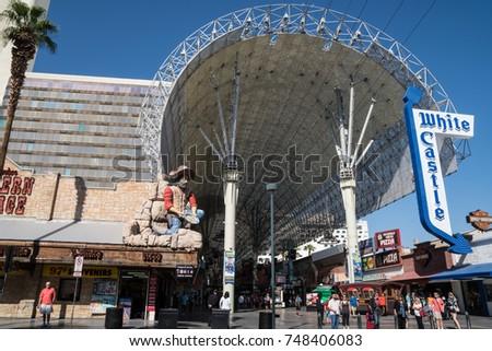 OCTOBER 13 2017 - LAS VEGAS NEVADA Entrance to the Fremont Street Experience canopy & October 13 2017 Las Vegas Nevada Stock Photo 748406083 - Shutterstock