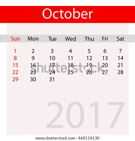 October Month of Business Contemporary Calendar for 2017
