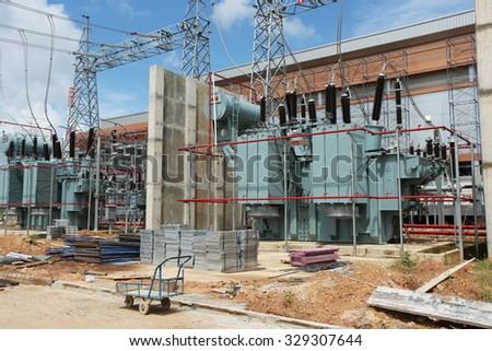 OCTOBER 08, 2015 ; NAN - THAILAND : Gas insulated switchgear, building and its outdoor electrical equipment under-construction.