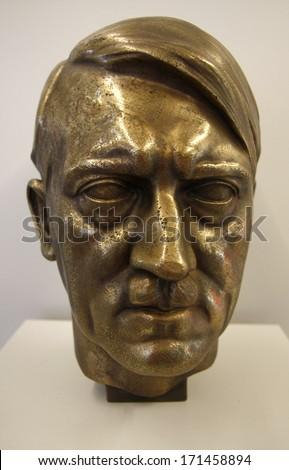 OCTOBER 2010 - OBERSALZBERG: a bust of German Nazi dicator Adolf Hitler - exhibit in the documentary center on Nazi-Germany, Obersalzberg, Berchtesgaden, Bavaria, Germany. - stock photo