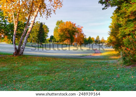 October's Fall Colors at the Golf Course. - stock photo