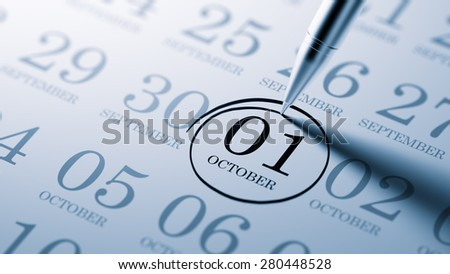 October 01 written on a calendar to remind you an important appointment. - stock photo
