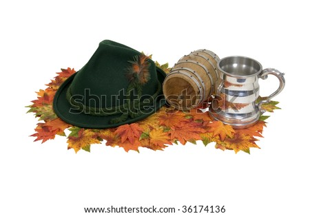 Octoberfest kit consisting of a festive hat, a sturdy beer stein and access to the keg - path included - stock photo