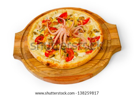 octopus pizza seafood tasty on white background