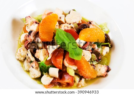 octopus salad with orange slices