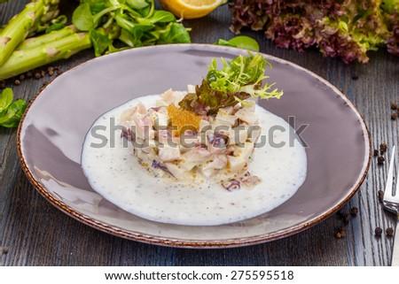 Octopus tartare - stock photo