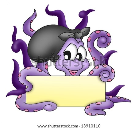 Octopus with text plate - color illustration.