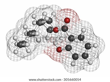 Octyl salicylate (octisalate) sunscreen molecule (UV filter). Atoms are represented as spheres with conventional color coding: hydrogen (white), carbon (grey), oxygen (red). - stock photo