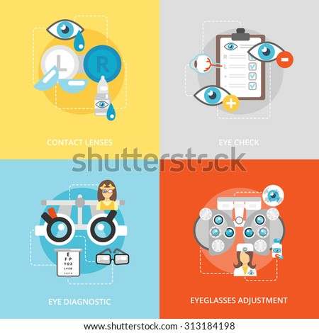 Oculist flat icons set with contact lenses eye check diagnostics eyeglasses adjustment isolated  illustration