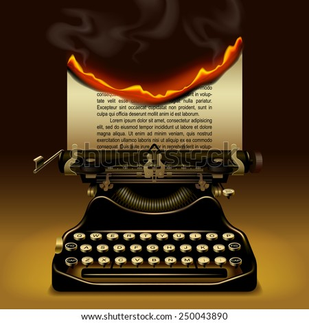 Od typewriter with a burning paper - stock photo