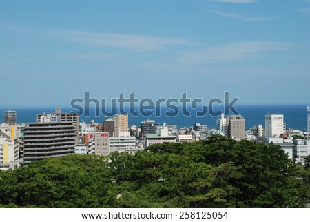 ODAWARA, JAPAN - AUGUST 1, 2014: A view over Odawara city in Kanagawa prefecture. Odawara  population is estimated at about 200 000 inhabitants.