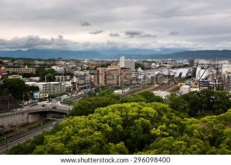 ODAWARA, JAPAN - JUNE 8, 2015: Aerial View of  Odawara city in Kanagawa prefecture, Japan. Odawara population is estimated at about 200 000 inhabitants.