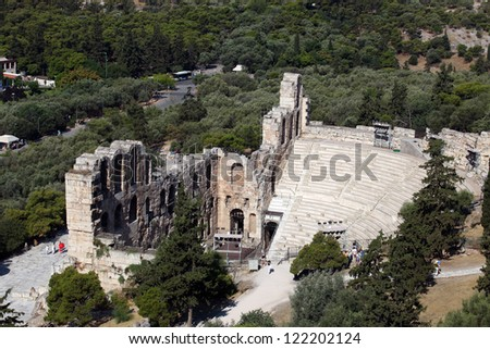 Odeon of Herodes Atticus Theater in Acropolis, Athens, Greece. - stock photo