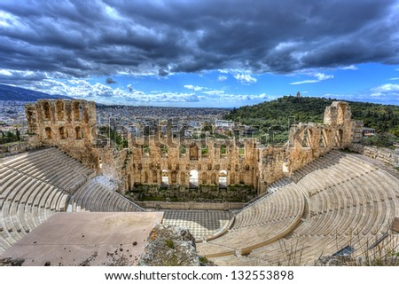 Odeon of Herodes Atticus under Acropolis in Athens,Greece - stock photo