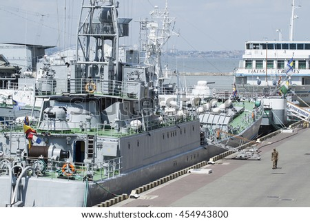 Odesa, Ukraine - July 3, 2016: Battleship docked at Port during celebration day NAVY forces - stock photo