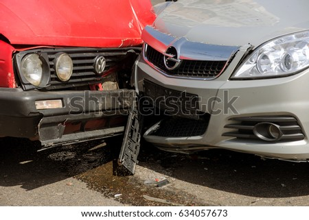 ODESSA, UKRAINE April 27, 2017: Accident, head-on collision of two cars. Car crash on the street, damaged cars after a collision on a city street. Violation of driving rules, insured event