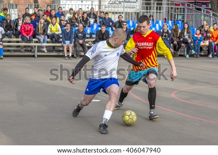 ODESSA, UKRAINE - April 9, 2016: City Futsal Championship. City Sports Club Mini-Football to host first game in traditional city primacy on new playground. Sports games for healthy lifestyle