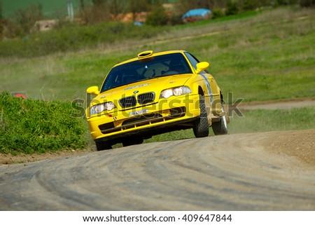 "ODESSA, UKRAINE - APRIL 17: Novinskyi Orest driving his car BMW M3 at the 1-st stage ""Severinov"" of the championship of Ukraine ""Liman Cup"" on April 17, 2016 in Odessa, Ukraine. - stock photo"