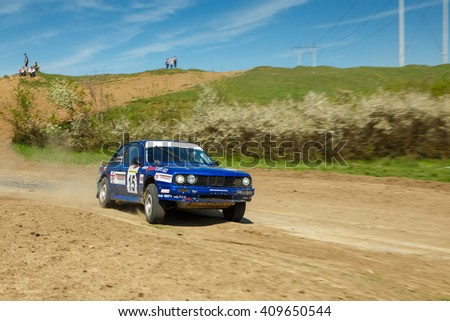 """ODESSA, UKRAINE - APRIL 17: Storchak Ivan driving his car BMW M3 retro at the 1-st stage """"Severinov"""" of the championship of Ukraine """"Liman Cup"""" on April 17, 2016 in Odessa, Ukraine. - stock photo"""