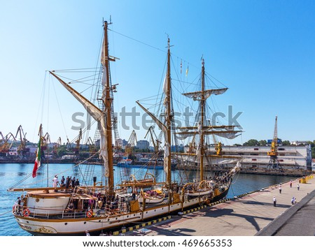 "Odessa, Ukraine August 15, 2016: Training barquentine Italian Navy ""Palinuro"" moored at the pier of the Odessa Sea Commercial Port in Odessa, August 15, 2016."