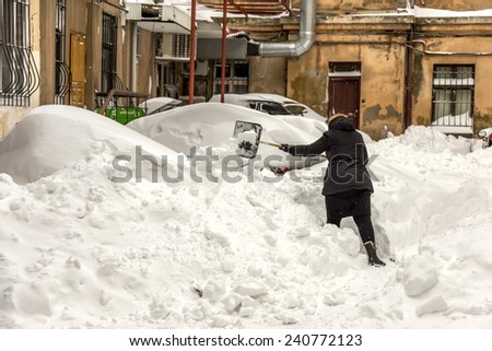 Odessa, Ukraine - December 29, 2014: Natural disasters, snow storm with heavy snow paralyzed the city. Kolaps. Snow covered the cyclone Europe, December 29, 2014 in Odessa, Ukraine.