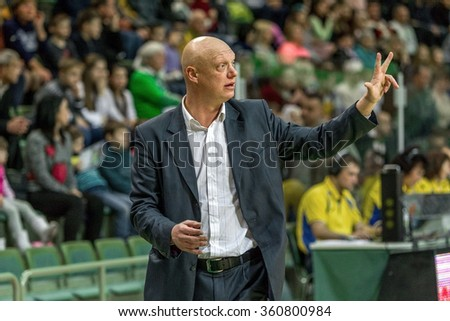 Odessa, Ukraine - December 25, 2015: The match of Super League of Ukraine on basketball Derby BC Odessa and Chemist.