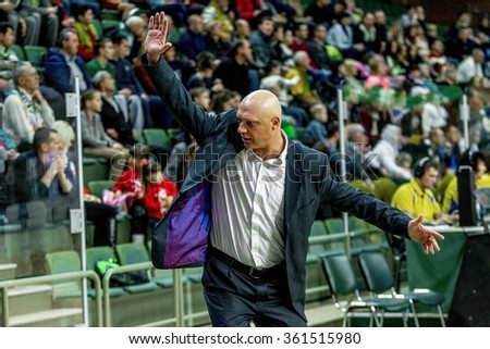 Odessa, Ukraine - December 5, 2015: The match of Super League of Ukraine on basketball Derby BK Odessa and Chemist. The coach conducts the play of the team emotionally Odessa