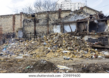 Odessa, Ukraine - December 20, 2014: the ruins of the old historic homes destroyed by the earthquake and destructive exploitation of urban structures December 20, 2014 in Odessa, Ukraine.