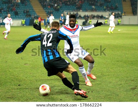 ODESSA, UKRAINE - FEBRUARY 20: moment of the game Europa League football match against Chernomorets Odessa Ukraine and Olympique Lionnais France . Verkutr Remy - vorotar, February 20, 2014 in Odessa