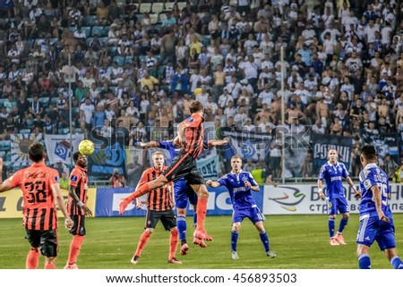 Odessa, Ukraine - 16, July - 2016: Dynamo Kiev players (b) in the fight for the ball with Shakhtar players(o) during the match for the Super Cup of Ukraine between Shakhtar Donetsk against Dynamo Kiev