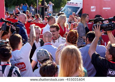Odessa, Ukraine - July 15, 2016: Red carpet opening of the 6th International Film Festival in Odessa. He worked as a photographer. Many spectators and paparazzi met glamorous guests.