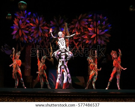 Odessa, Ukraine - June 2, 2013: Actors on stage Firebird ballet on stage of Odessa National Opera and Ballet Theatre. Dancers and dancers in colorful costumes during show moving motion.