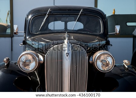 ODESSA, UKRAINE - june 11, 2016: Plymouth car 1935 on exhibition of a retro of cars at the Odessa marina. - stock photo