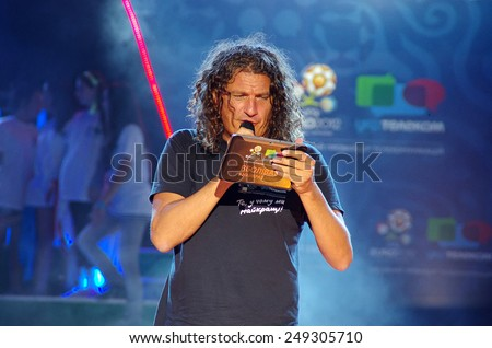 Odessa, Ukraine - 3 June, 2012: singer actor Andrew Kuzmenko (Kuzma Scriabin) at a concert in honor of the football championship Euro-2012  - stock photo