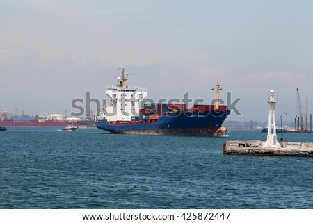 ODESSA, UKRAINE -2 June 2011: Transport. Sea transport. Large marine transport vessels in the waters of the harbor torogovogo sea port of Odessa. Marine Cargo ship