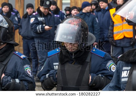ODESSA, UKRAINE - MARCH 6, 2014: Protest at Euromaydan in Odessa to sign a contract between the European Union and Ukraine. Ukrainian police on March 6, 2014 in Odessa, Ukraine.