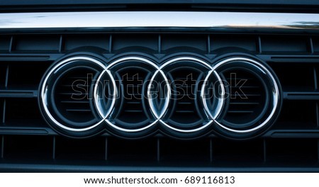 ODESSA, UKRAINE - MAY 7, 2017: Audi logo and badge on the car