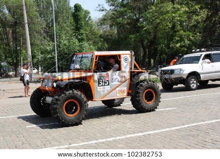 "ODESSA, UKRAINE - MAY 12 : Competition off-road vehicles  ""The Cup of Black Sea"" TOYOTA No. 315 on start taking part at the annual trophy challenge on May 12, 2012 in Odessa, Ukraine"