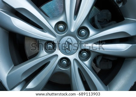 ODESSA, UKRAINE - MAY 7, 2017: Hyundai logo and badge on the car wheel