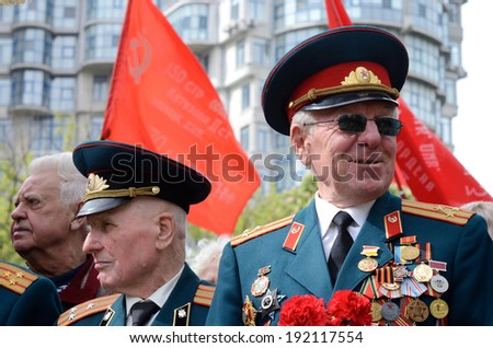 ODESSA,UKRAINE - MAY 9:Old veterans come to celebrate Victory Day in commemoration of Soviet soldiers who died during Great Patriotic War 1941-1945 on May 9,2014 in Odessa,Ukraine