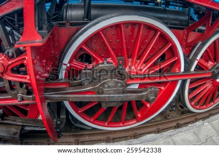 Odessa, Ukraine - May 17 2013: Restored Historic steam train in the day of celebration of the 150th anniversary of the opening of rail transportation in Odessa