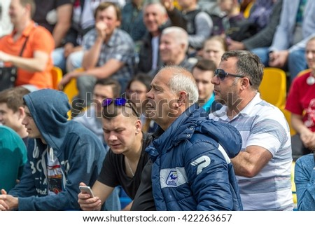 ODESSA, UKRAINE - May 15, 2016: Semi-final of the European Cup rugby. The tense game between the team of Ukraine and Moldova. RBI. European Cup RWS, RBI. Coach Oleh Zalizny