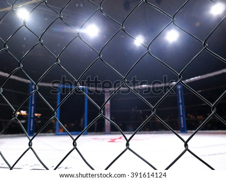 """Odessa, Ukraine - 24 November 2015: Athletes in the ring extreme Sport mixed martial arts competition tournament series """"World MMA Network MAXMIX"""". Octagonal ring for fights. Selective focus - stock photo"""