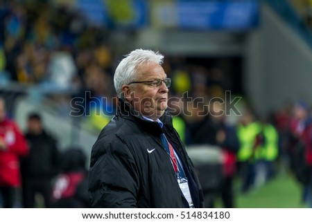 ODESSA, UKRAINE - November 12, 2016: Coach of Finland Hans Backe during Football match of Euro Champions League, European Qualifiers between the national teams of Ukraine FC and  FC Finland. 1: 0