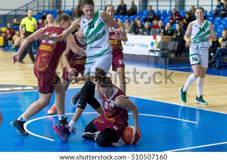 ODESSA, UKRAINE - November 5, 2016: Ukrainian Cup in women's basketball. InterChemik (Odessa) - Tavria Star (Kherson). InterChemik - Champion of Ukraine and leader of the tournament