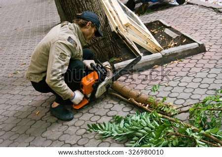 Odessa, Ukraine - October 12, 2015: A man cuts a fallen tree after Hurricane using a chainsaw and professional tools.