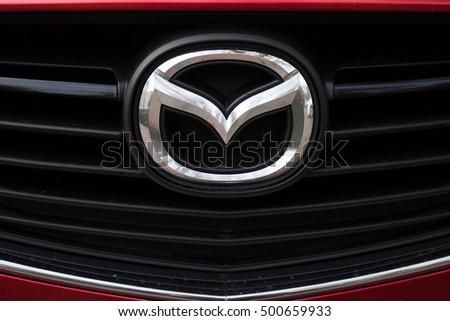 ODESSA, UKRAINE - OCTOBER 16, 2016: Mazda logo and badge on the car